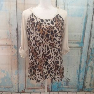 Animal print baseball style shirt 3/4 sleeve